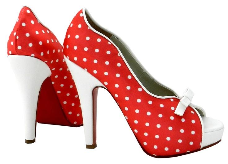 MarF Zapatos . Modelo Diamella - Saten Rojo con lunares blancos combinado con cuero charol blanco
