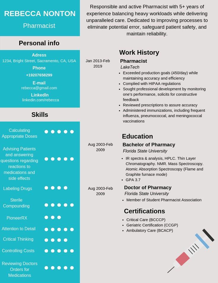 Pharmacist Resume Samples & Templates [PDF+Word] 2020