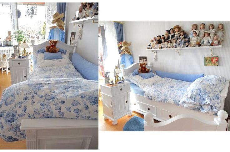 Weißes Bett im Landhausstil mit zartem Himmelblau   #Landhaus #Landhausmöbel #Bett #zartesblau #weiss #einrichten #wohnen