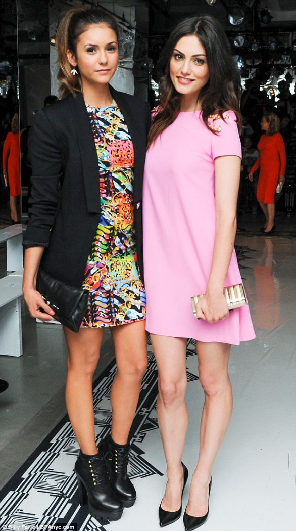 nina dobrev boots versus versace fashion week