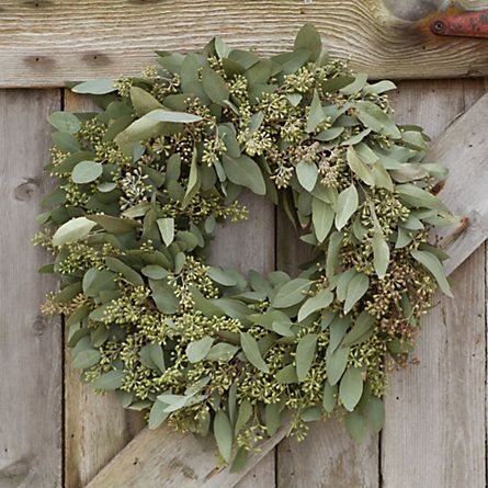 Seeded Eucalyptus Wreath.... i love them, add pepper berries and you have year round gorgeous wreath to hang in any room
