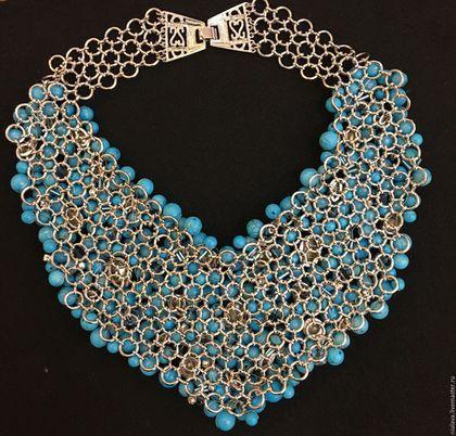 Купить Роскошное бирюзовое ожерелье - украшения из камней, Модное украшение, колье с камнями, колье, украшения