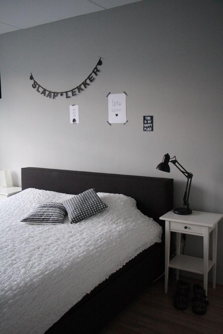 slaapkamer, grijs, wit, zwart, letterbanner