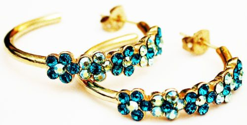Michal-Negrin-Gold-Plated-Turquoise-Green-Swarovski-Crystal-Floral-Hoop-Earrings