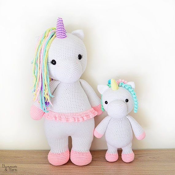 TWO CROCHET PATTERNS in English - Betsy the Big Unicorn and Mimi the ...