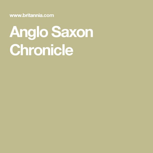 Anglo Saxon Chronicle