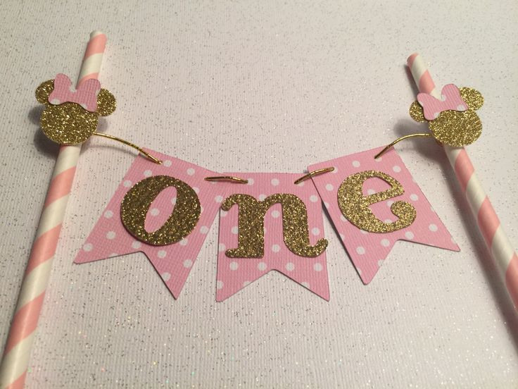 Free Shipping.... Minnie Pink Gold Cake Topper, First Birthday Decoration, Party Supplies (CODE SHIPFREE)