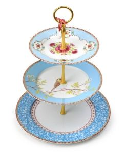 Blue 3tier Cakestand.The intricate designs are inspired by the natural world - floral patterns are a key feature of the collecti