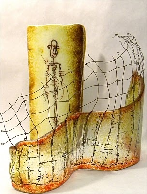 Painted, fused, slumped glass with wire.  Carol Carson Glass.