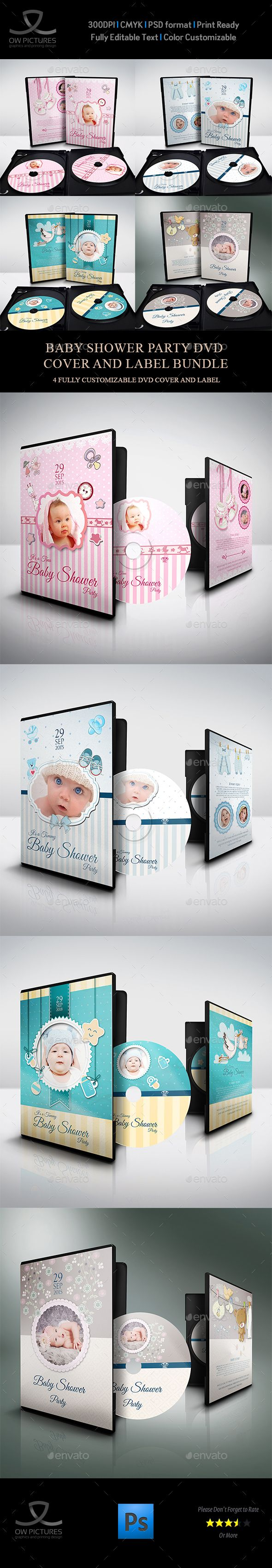 Baby Shower Party DVD Bundle Vol.1 - #CD & DVD #Artwork Print #Templates Download here: https://graphicriver.net/item/baby-shower-party-dvd-bundle-vol1/19491714?ref=alena994