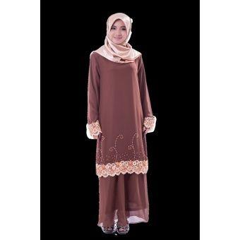 Rasa Sayang Classic Beaded Baju Kurung - Blast-off Bronze A fesyen baju kurung with delicate lace and beads embroidery  Fabric: Chiffon Colors: Blue, Brown, Peach & Red Blouse Measurements: S  6 -  Length 97,  Shoulder 36, Bust 44,  Waist 42, Hips 50, Sleeve Length 57 M  38 -... #bajukurung #bajukurungmoden