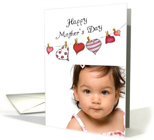 Mothers Day - Photo Card, Hearts on Clothesline card