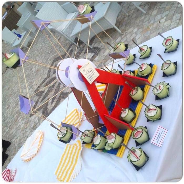Luna Park Carnival + Fair themed birthday party via Kara's Party Ideas KarasPartyIdeas.com I love the idea of a ferris wheel display for hors d'oeuvres