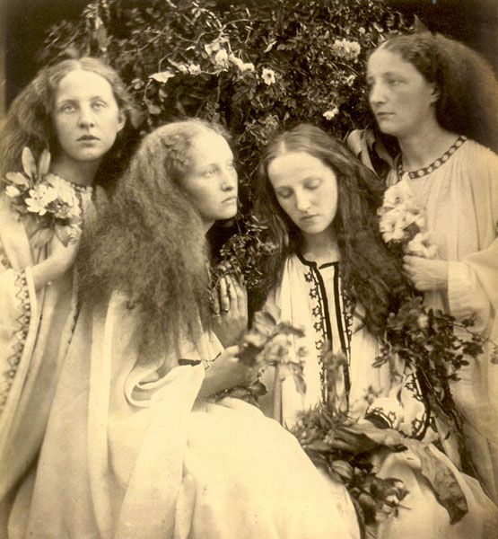 """The Rosebud Garden of Girls"", 1868. by Julia Margaret Cameron. One of the greatest portraitists in the history of photography, Julia Margaret Cameron (1815–1879) blended an unorthodox technique, a deeply spiritual sensibility, and a Pre- Raphaelite–inflected aesthetic to create a gallery of vivid portraits and a mirror of the Victorian soul."