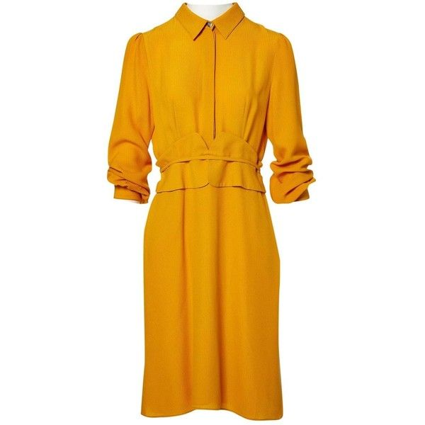 Pre-owned Gucci Silk Mid-Length Dress ($525) ❤ liked on Polyvore featuring dresses, women clothing dresses, yellow, mustard yellow dresses, collar dress, button down dress, embelished dress and embellished dress