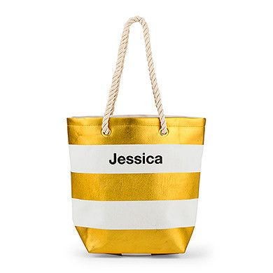 Bliss Striped Tote - Metallic Gold And White - LoveStruck Weddings