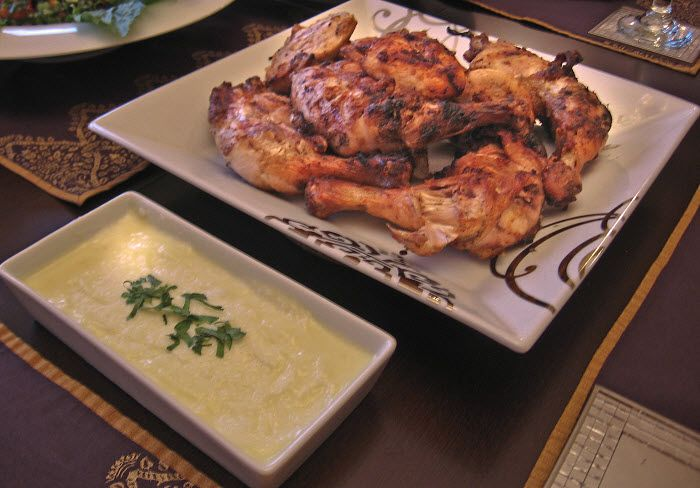 """Lebanese grilled chicken is a garlicky gourmet dish that tends to be our """"Sunday special"""" at home. The recipe is quite easy to make and the secret is in the marinade, and is rather simple.    [image title=""""Lebanese Grilled Chicken - Djej Mishwe"""" lightbox=""""true"""" align=""""center"""" icon=""""zoom"""" width=""""613"""" height """"400"""" quality=""""100""""]http://www.mamasleba"""