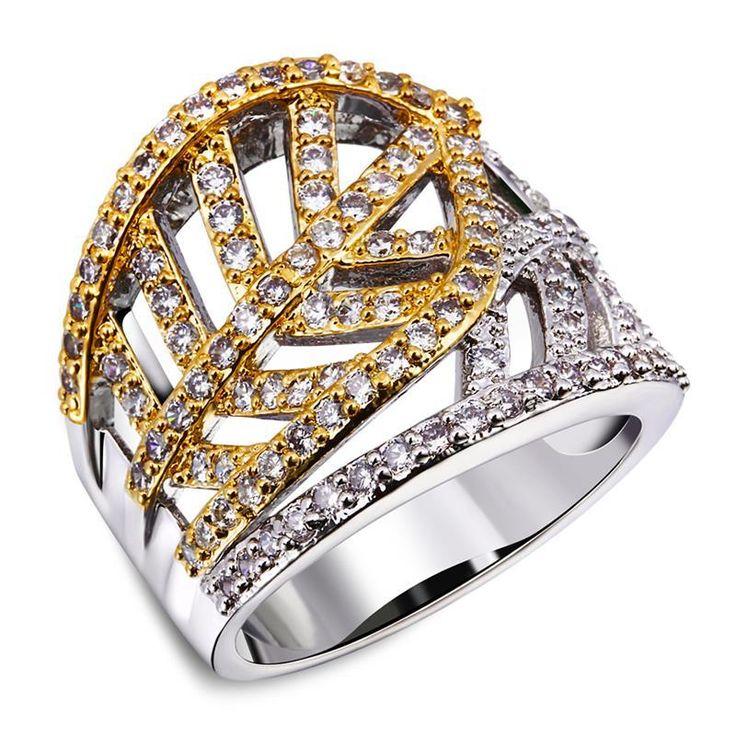 Экологически чистые материалы 2 мелодии позолоченные женщины мода камней кольца качества 3aaa цирконий форма листа обручальное кольцо