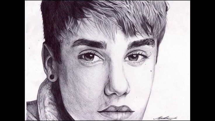 Pen Drawing Of Justin Bieber - Freehand Art