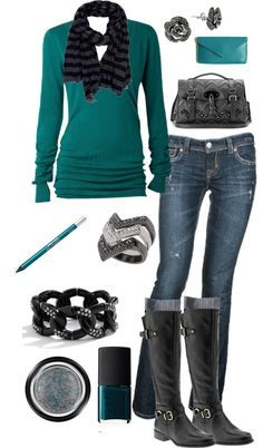 I'm all about this style. Comfy, cute. I could do away with the accessories, just give me the shirt, jeans, and boots. Maybe scarf.