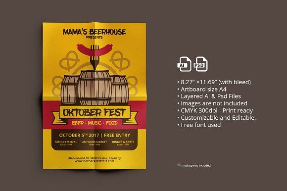 Oktober Fest Flyer/ Poster 01 by ihsankl on @creativemarket