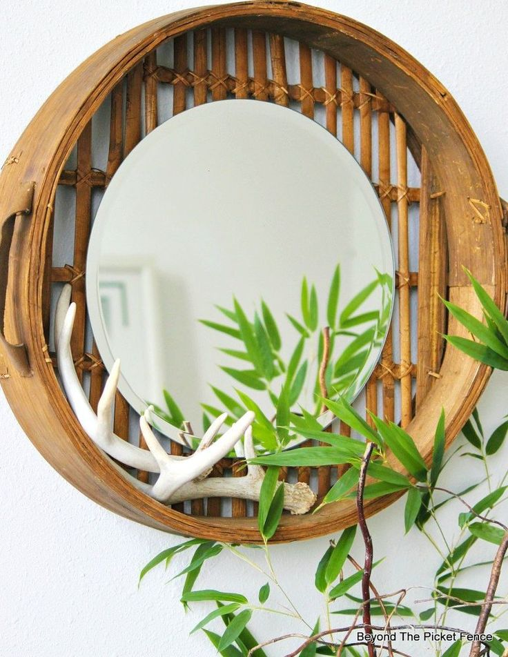 Old bamboo steamer+mirror