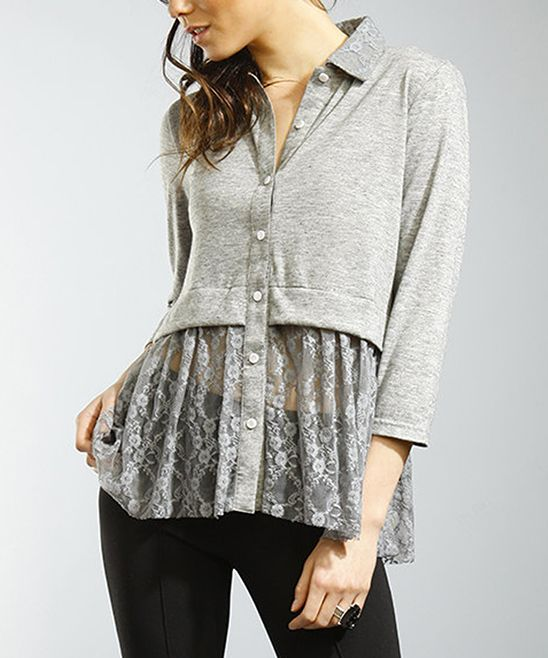 Gray Lace Hatchi Button-Up Top