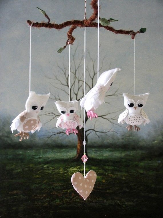 Nursery Mobile  Feathery Owl  Pink and Fawn by lilliputloft: Nurseries Mobiles, Hanging Heart, Owls Nurseries, Baby Dreams, Owls Mobiles, Feathery Owls, Baby Things, Baby Girls, Baby Stuff