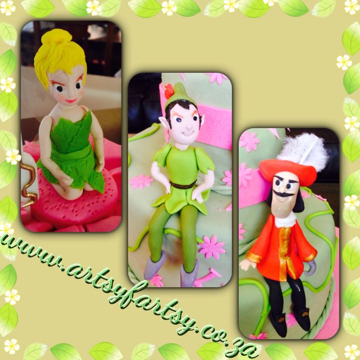 Tinker Bell, Peter Pan and Captain Hook Sugar Figurines