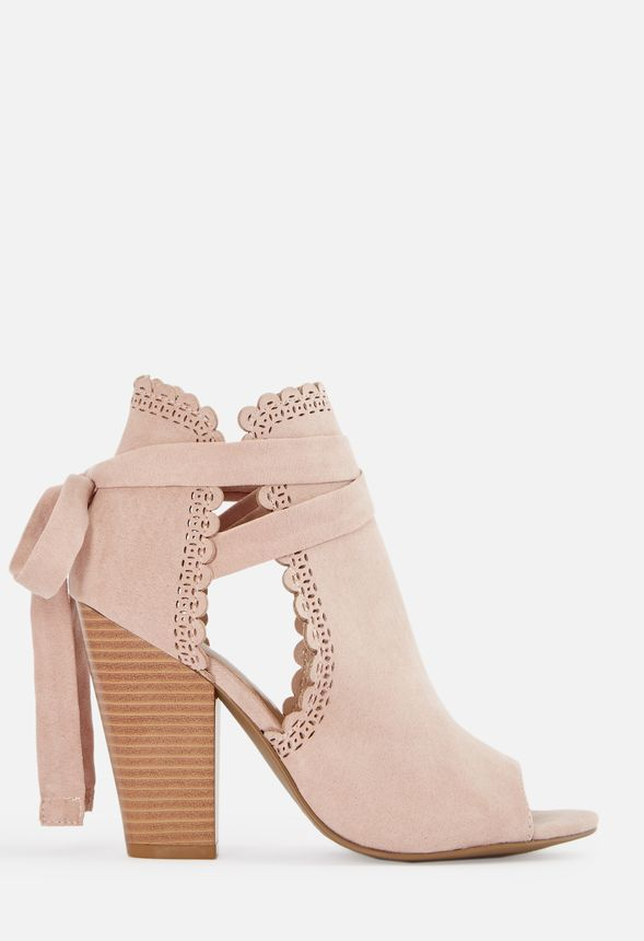 50088980dfb0d Just For Fun Open Toe Ankle Tie Heeled Sandal in Blush - Get great deals at  JustFab
