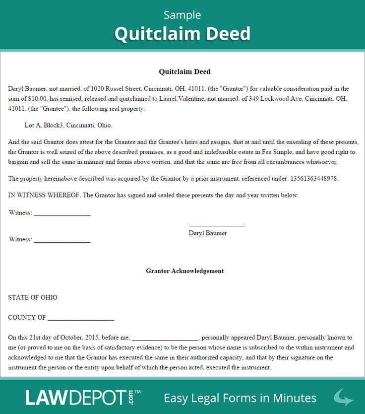 Sample Quitclaim Deed