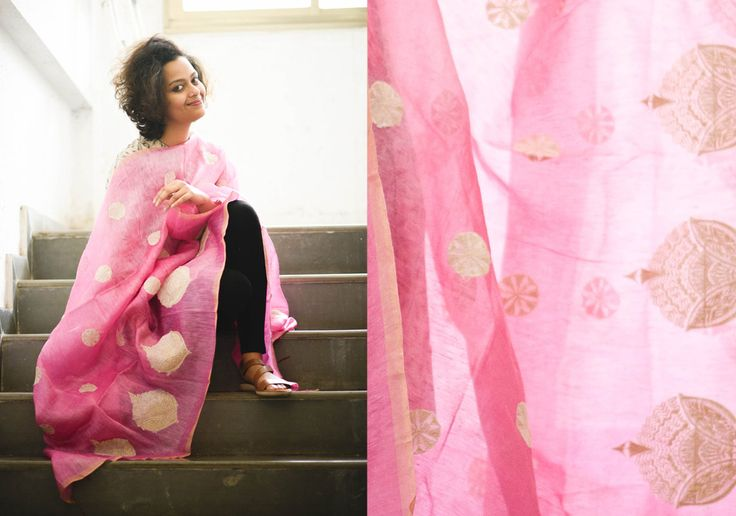 Silk Dupattas - Bbay pink tussar with round leaves by Suta PC 15044 - 2