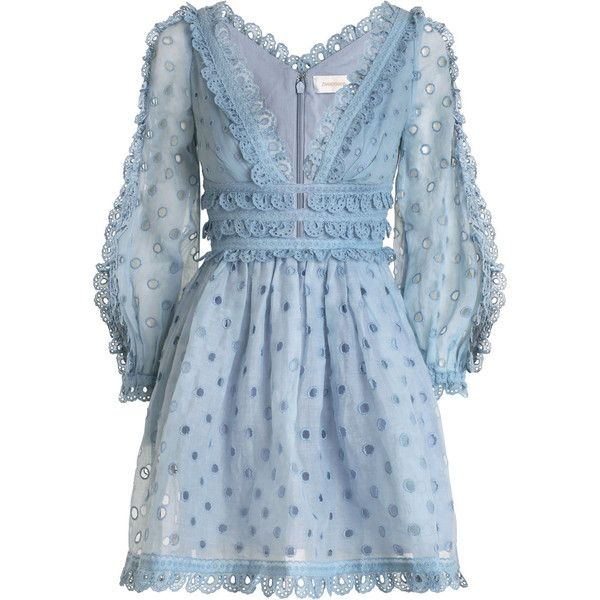 ZIMMERMANN Winsome Tea Dress (20,280 MXN) ❤ liked on Polyvore featuring dresses, vestido, short dresses, embroidery dresses, blue eyelet dress, blue mini dress and sleeved dresses