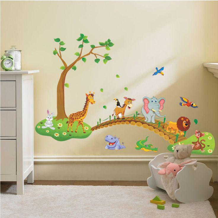 3D Cartoon Jungle divoké zvíře strom most květiny samolepky na zeď pro dětský pokoj obývací pokoj lev žirafa aepyornis domova