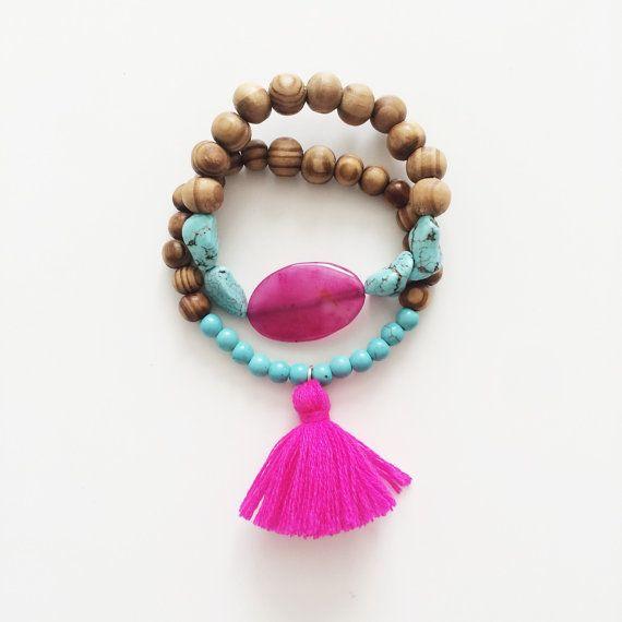 Set of 2 bracelets - tassel bracelet - agate - beaded bracelet - Bohemian - Festival bracelet