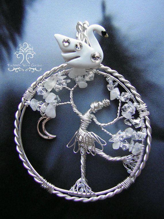 Le lac des cygnes le cygne et la princesse Tree of Life fil gainé pendentif bijoux danseuse de Ballet