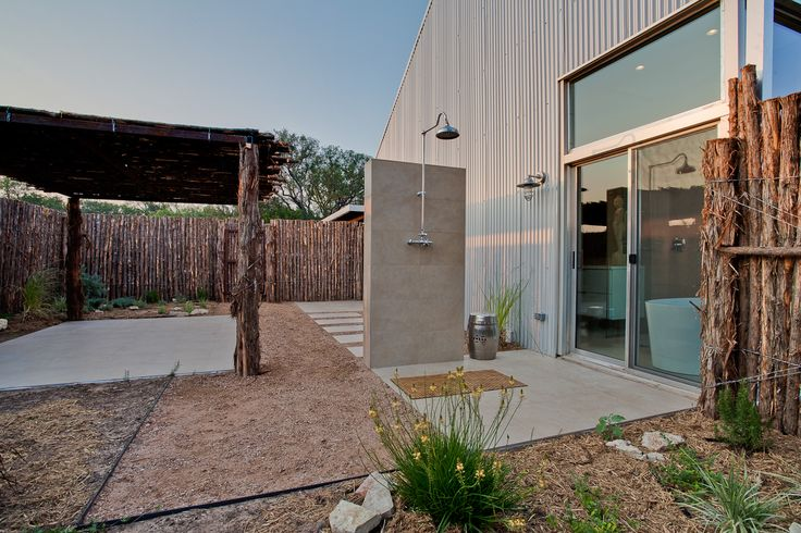 Modern outdoor shower, Texas landscape, outdoor living, xeroscaping, Nimmo