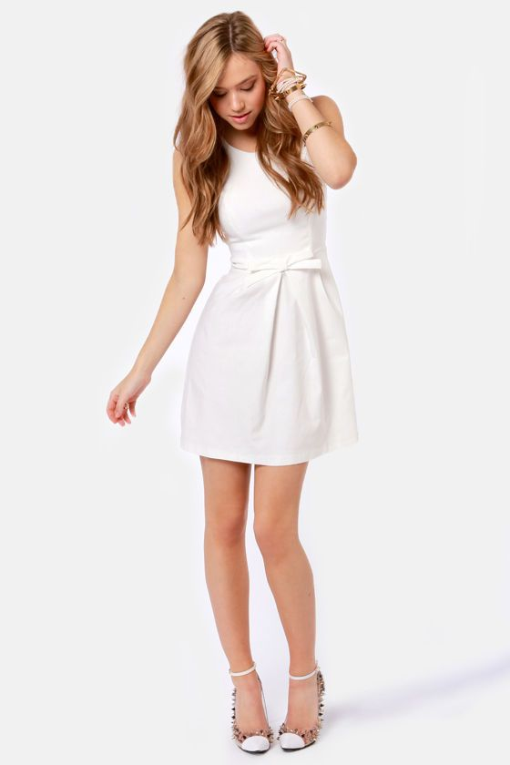 Rehearsal dress? Pretty White Dress - Fit and Flare Dress - $39.00