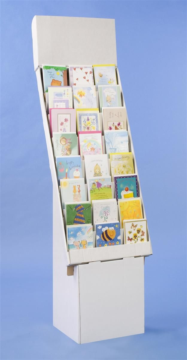8-Tiered Cardboard Greeting Card Display for Floor, Removable Header - White