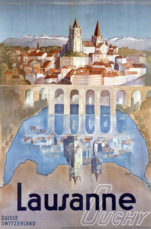 Vintage travel poster for Lausanne Duchy  (artwork by Marguerite Steinlen, 1893-1982)