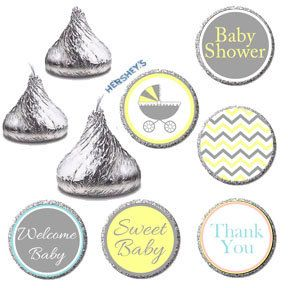Hershey Kiss Labels Gender Neutral Baby Shower Candy Stickers,Welcome Baby Shower Candy Label,Yellow Gray Chevron,Gender Reveal Favors (576)