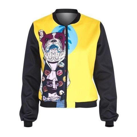 French Bulldog Printing Bomber Jacket