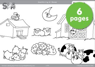 "Free downloadable ""Good Morning, Mr. Rooster"" coloring pages. Six pages from the popular video by Super Simple Songs."