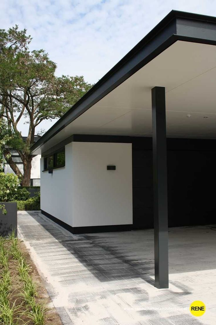Modern Carport Garage: Modern Tuinhuis Stucwerk Garage Carport Architectuur Www
