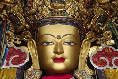 A Brief Introduction to Tibetan Buddhism: Statue Of Maitreya Buddha In The Recently Reconstructed Ganden Assembly Hall, Ganden Monastery, Tibet