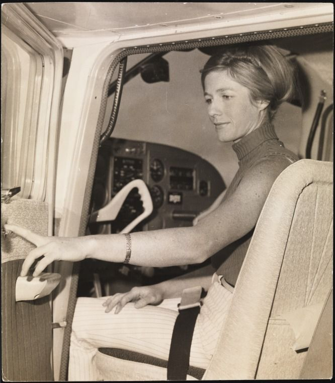 BA2749/2125: Nurse Robin Miller in the cockpit of the Cessna 182 purchased for the vaccination distribution program, 1967. http://encore.slwa.wa.gov.au/iii/encore/record/C__Rb4781704__Srobin%20miller%20in%20the__Orightresult__U__X6?lang=eng&suite=def