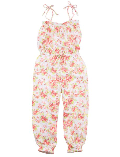 This pretty floral printed jumpsuit is a great alternative to a party dress. It has plaited tie straps, and a mock bow at the waist.