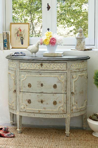 Фламандский полумесяцем - французский антикварный стол, шведские Серый стол | Мягкие Окрестности