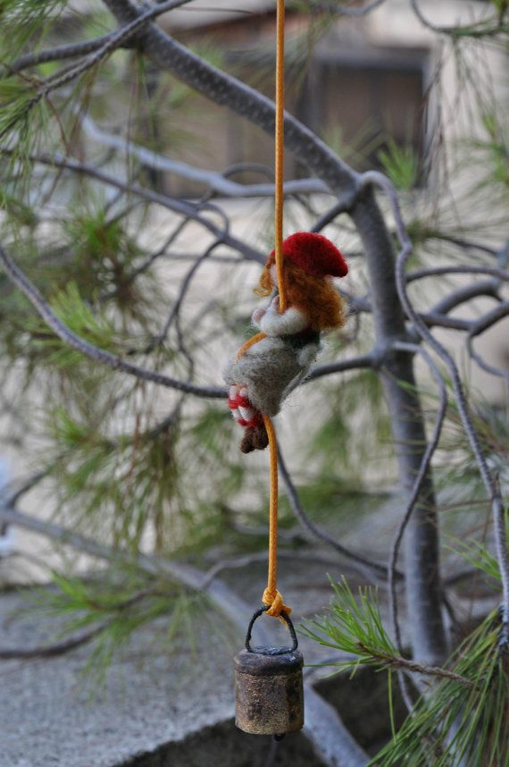 Waldorf Needle felted Gnome. Climbing Tiny Gerl-Gnome.