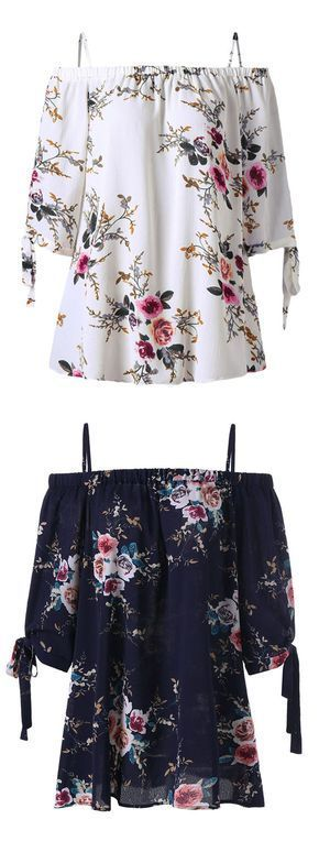 Plus Size Cold Shoulder Floral Blouse